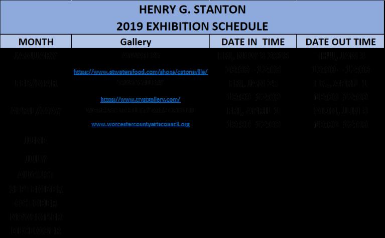 exhibition schedule 2019